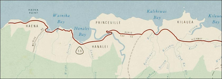 Old Kauai road map